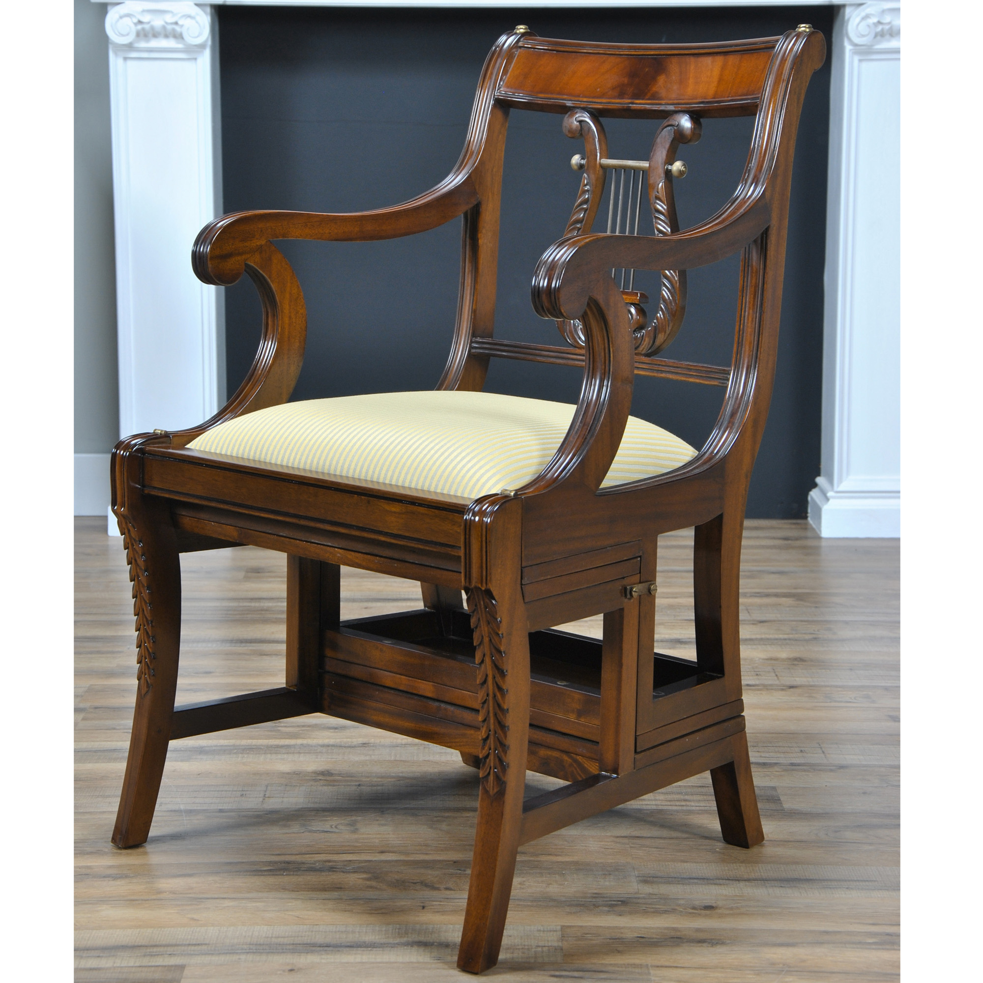 Mahogany Home Library Office: Mahogany Library Chair, Niagara Furniture, Lyre Back Chair