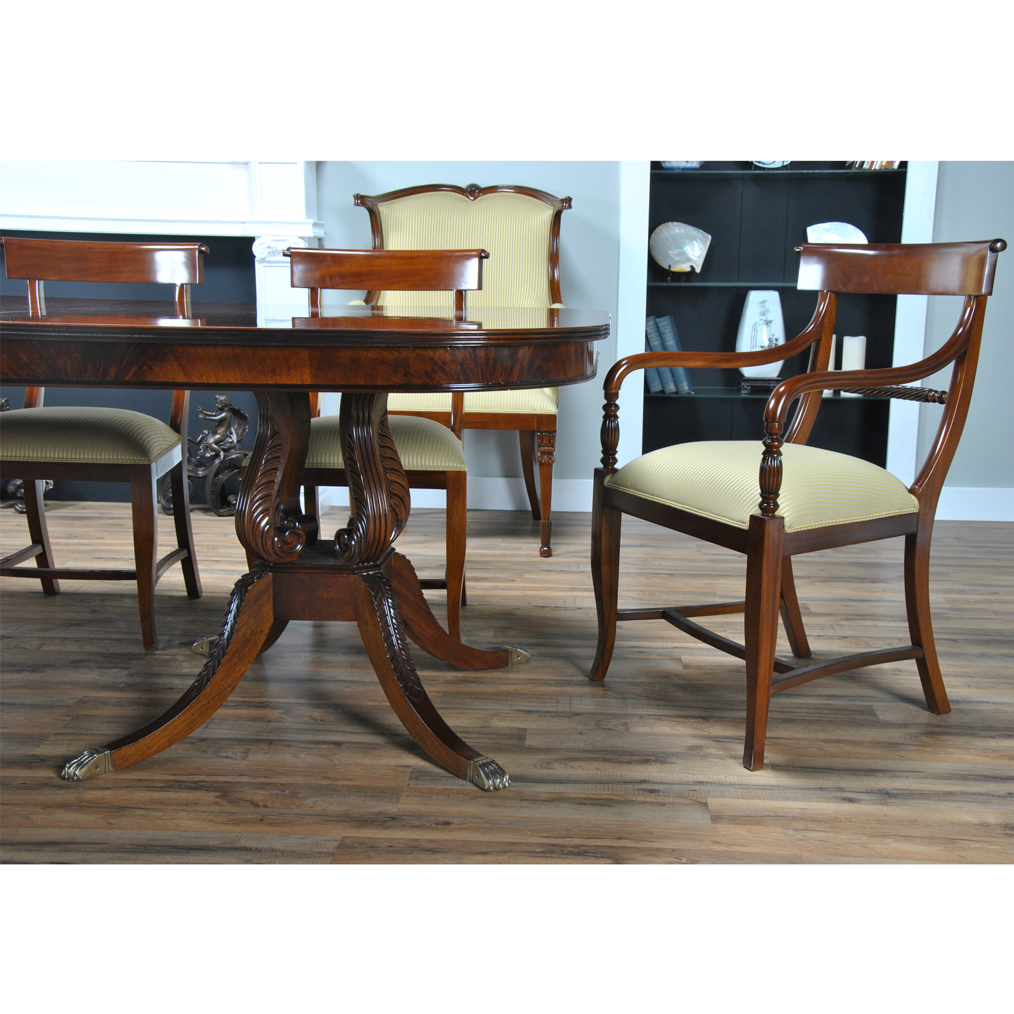 long harp base dining table niagara furniture mahogany table