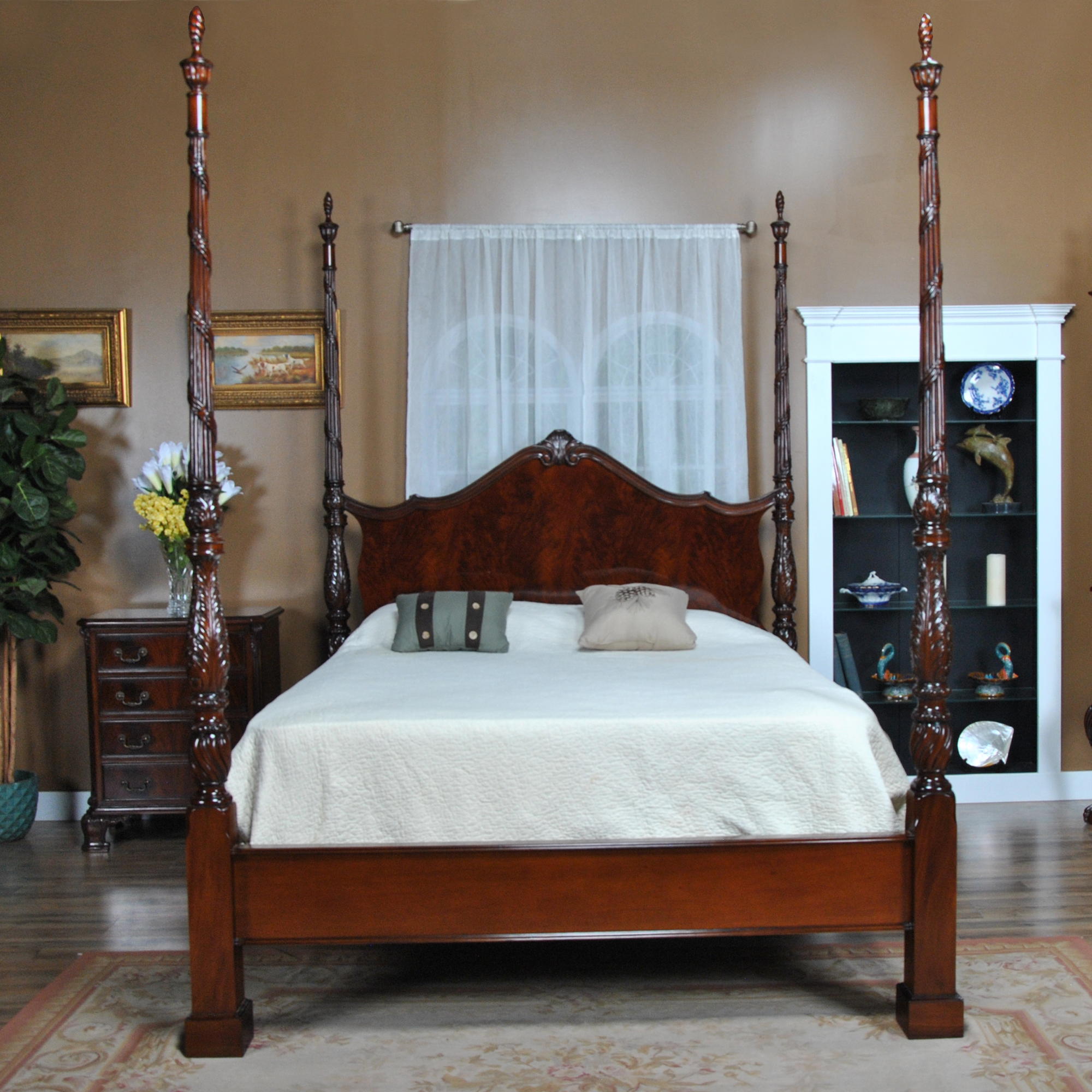 King Size Mahogany Four Poster Bed :: NBR019K
