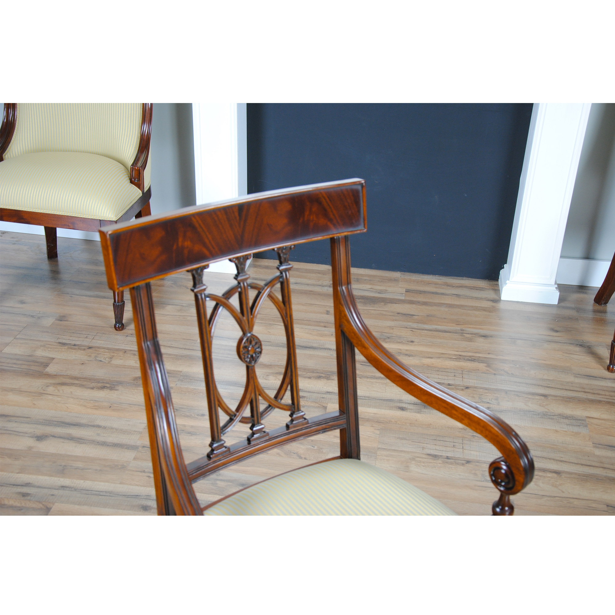 Mahogany hepplewhite arm chair niagara furniture free for Mahogany dining room furniture