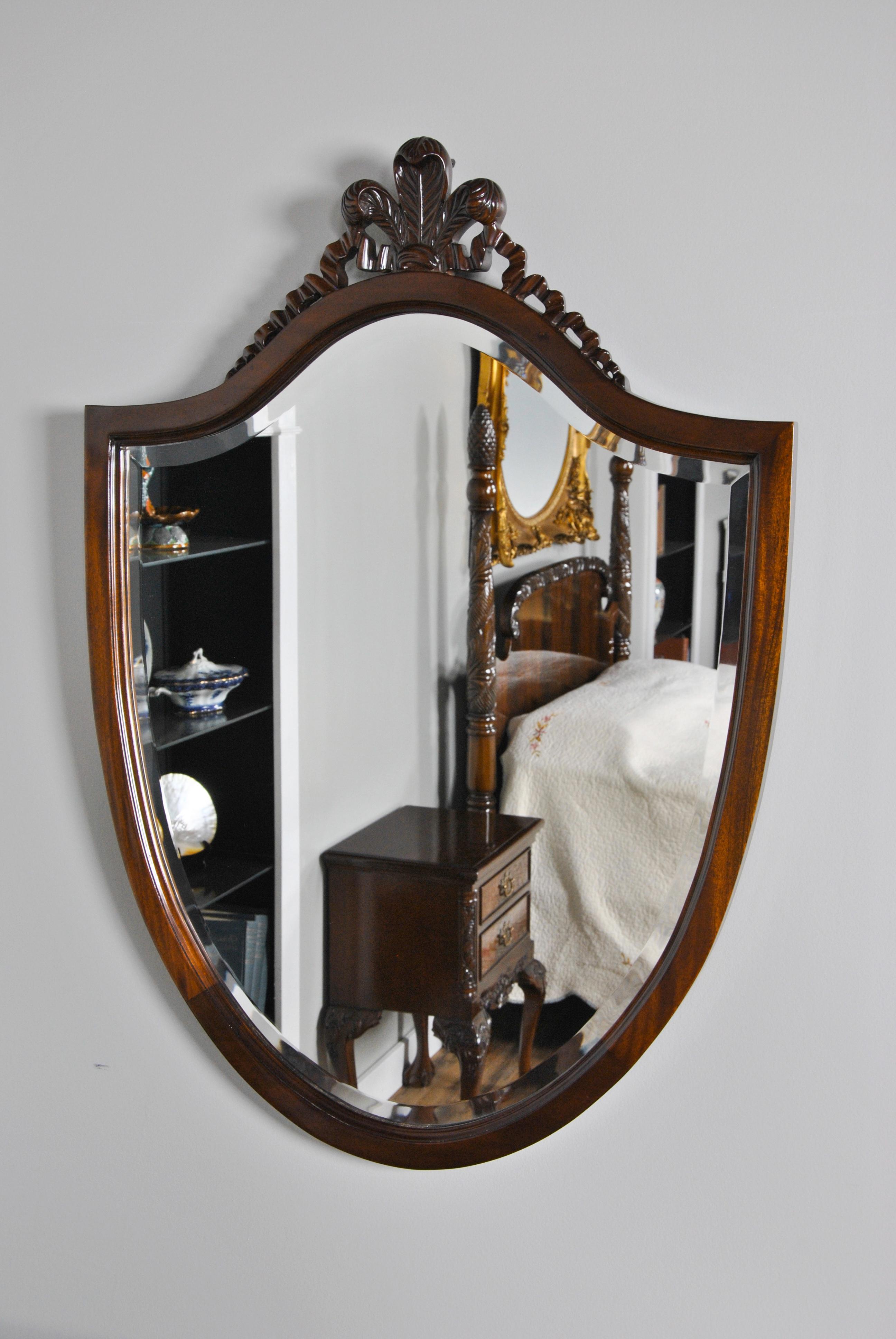 Mahogany Carved Mirror Mahogany Carved Shield Mirror