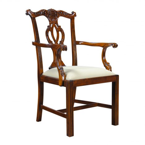 Solid Mahogany Chippendale Arm Chair :: NDRAC002