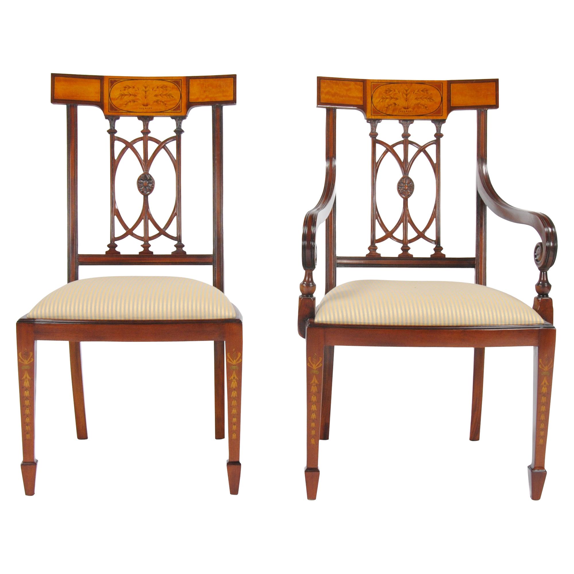 Inlaid Hepplewhite Chairs Set of 10 Niagara Furniture mahogany