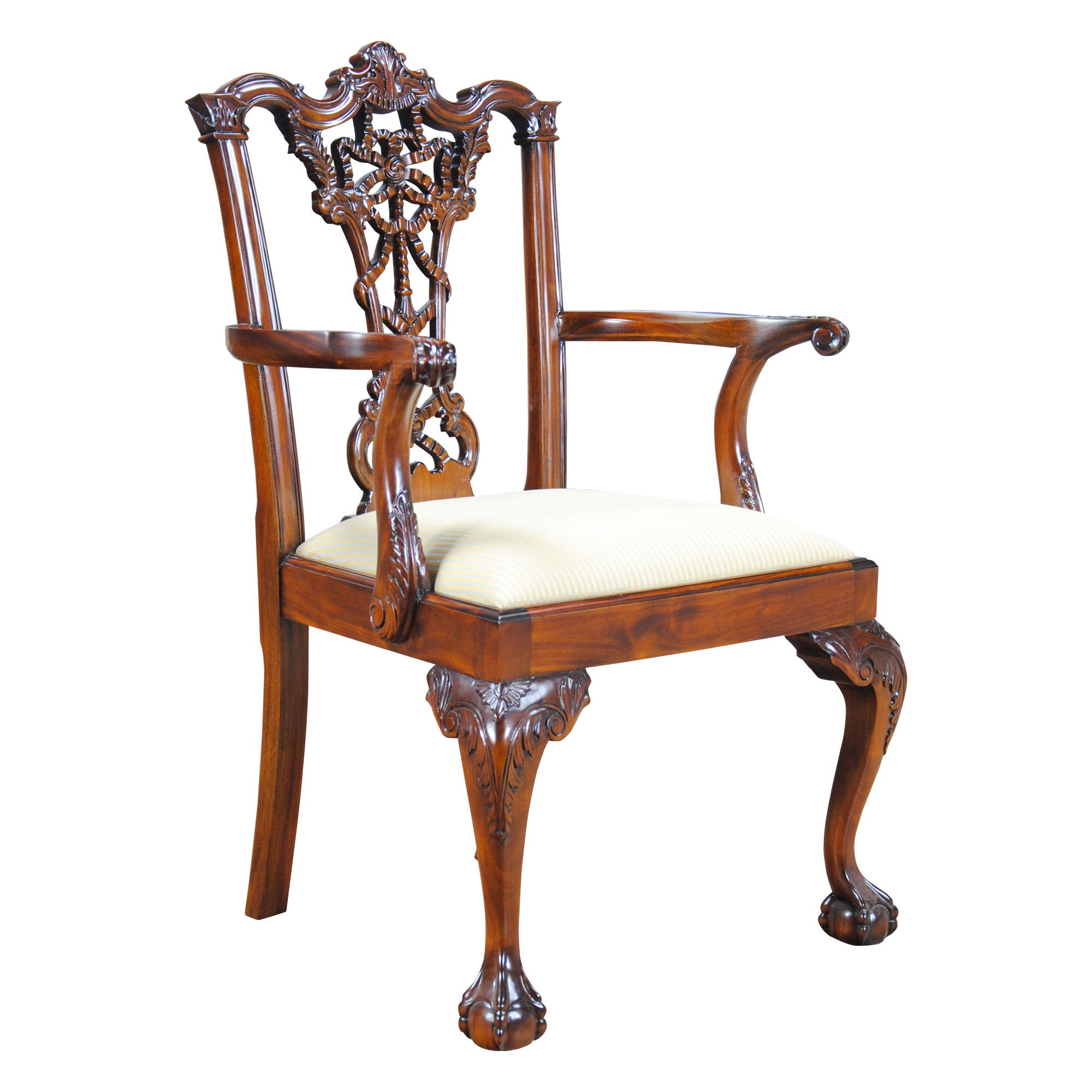Chippendale Furniture: Carved Mahogany Chippendale Arm Chair, Niagara Furniture