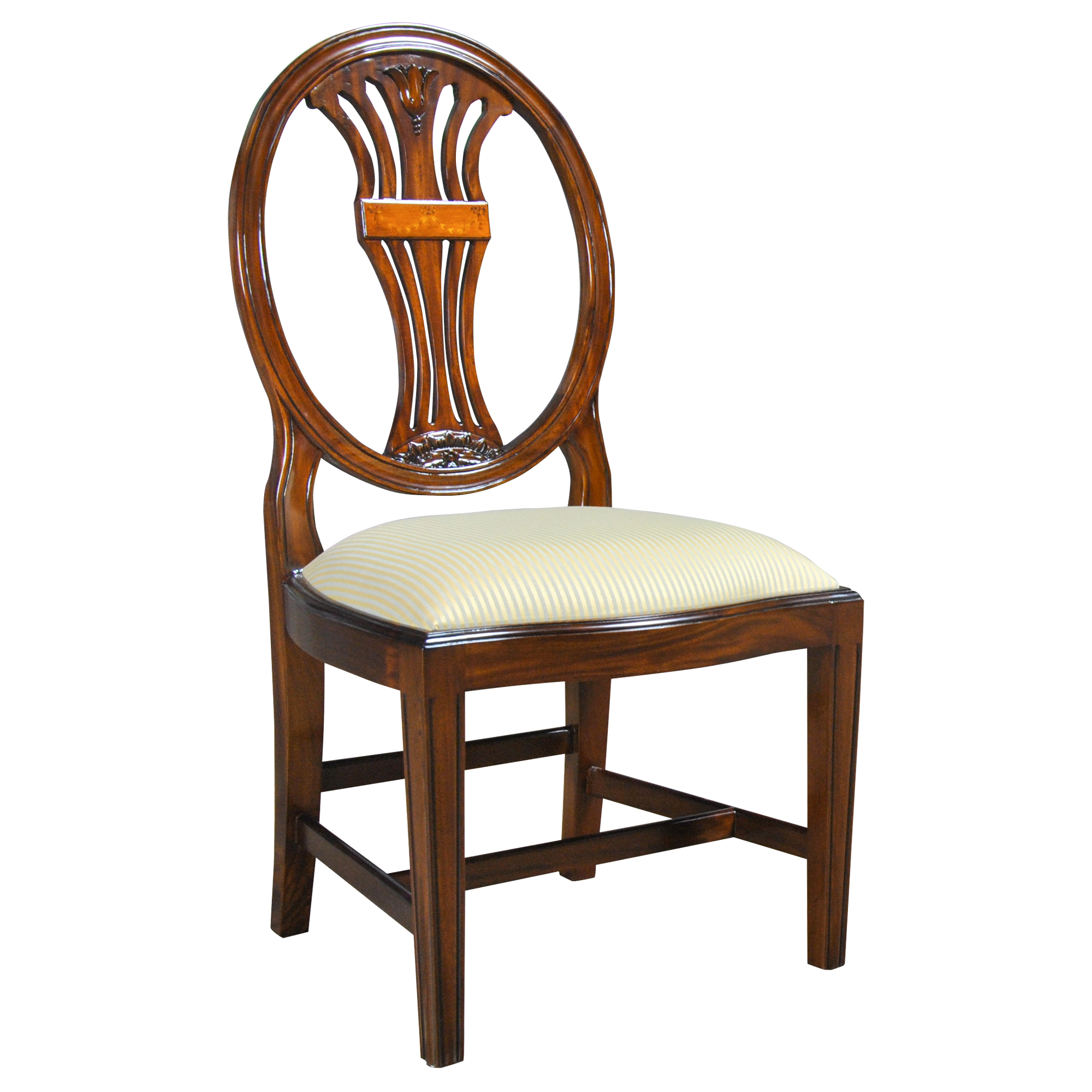 Oval back inlaid side chair niagara furniture free shipping for Oval back dining room chairs