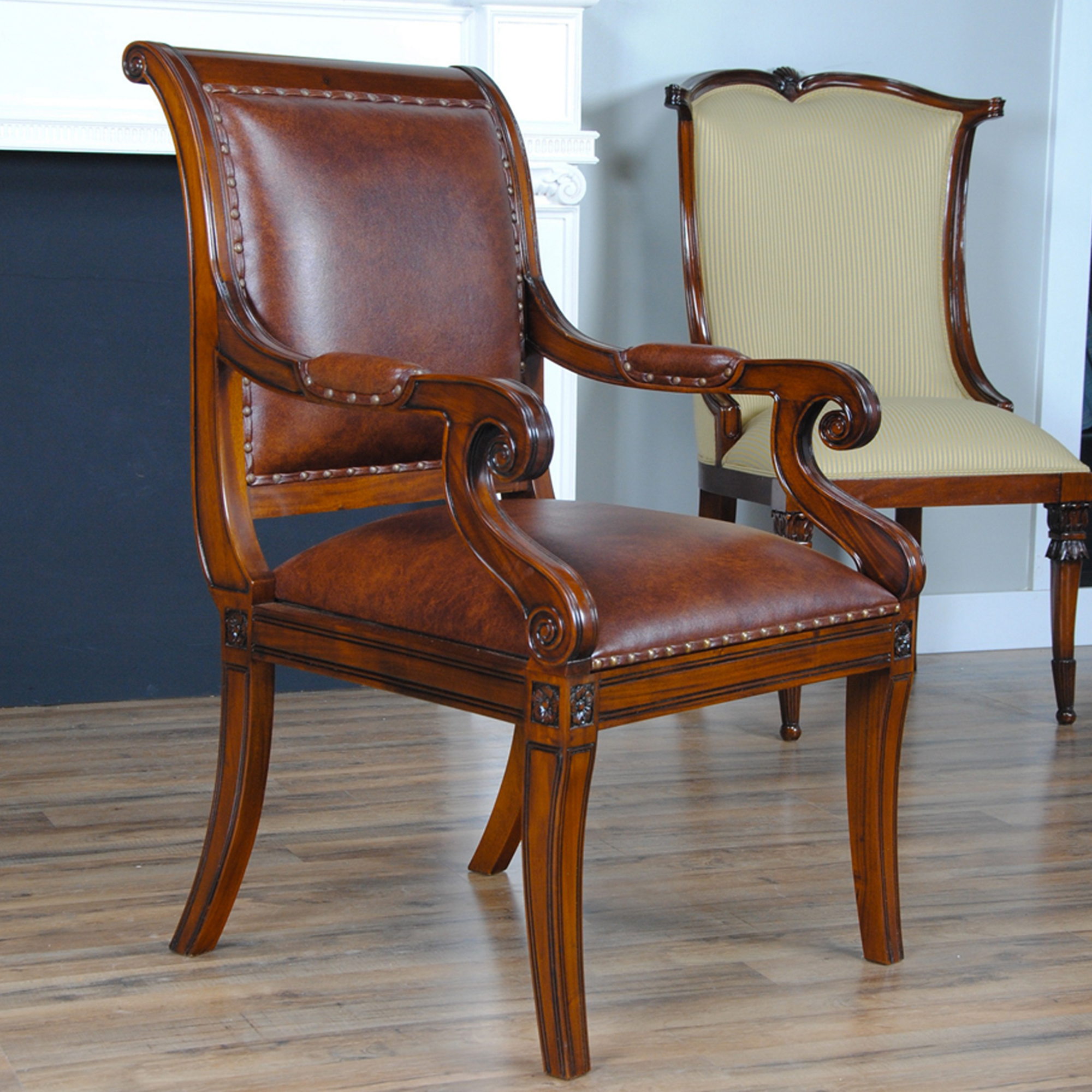 home furniture dining room chairs regency leather