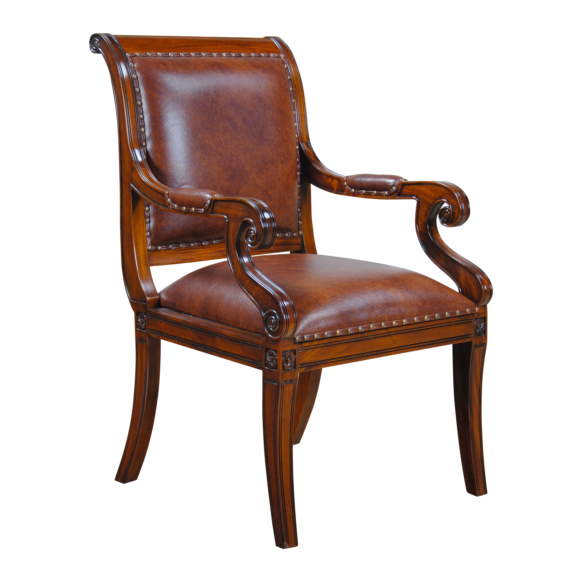 Regency leather arm chair niagara furniture full grain for Leather dining room chairs