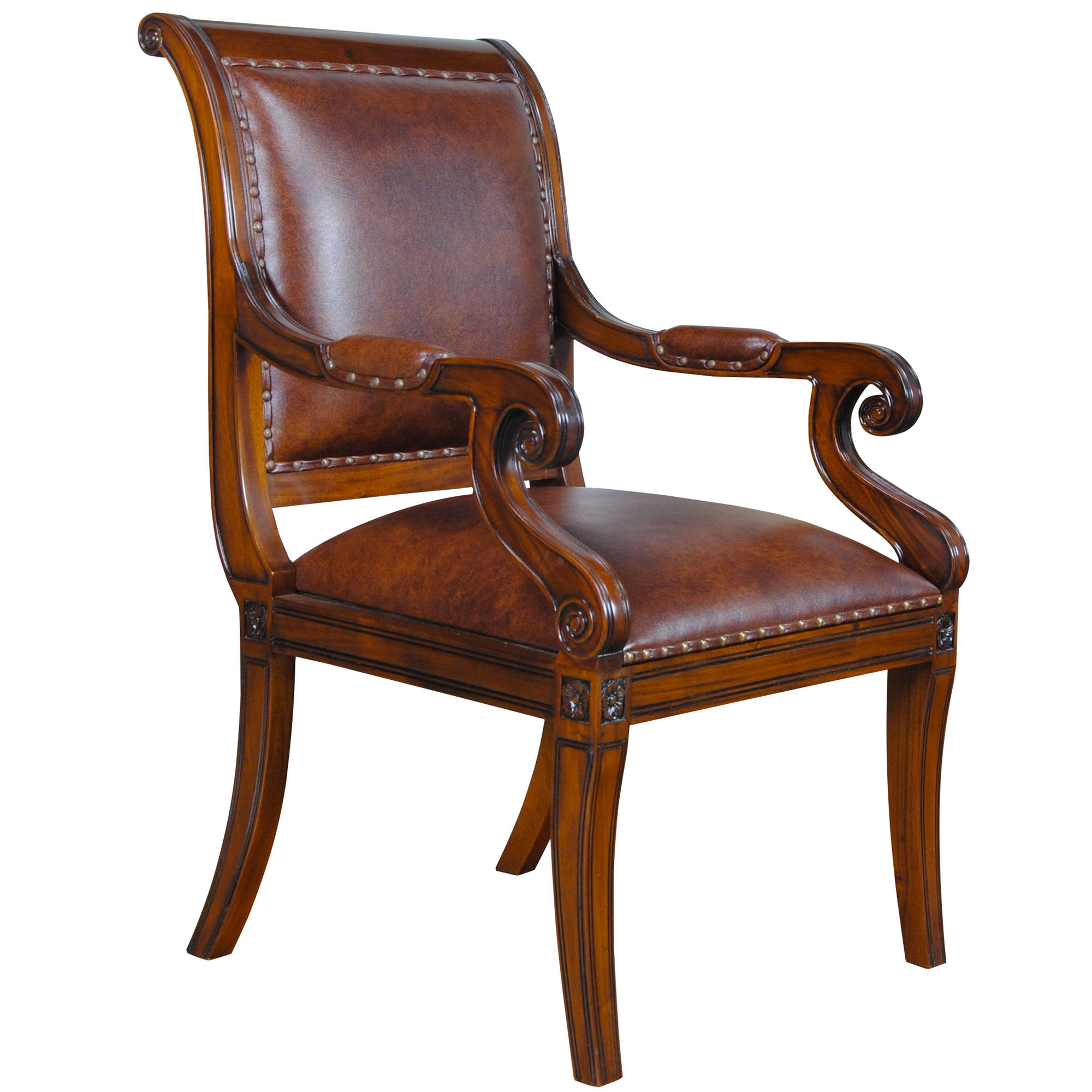Home furniture dining room chairs regency leather arm chair ndrac054l for Regency furniture living room sets