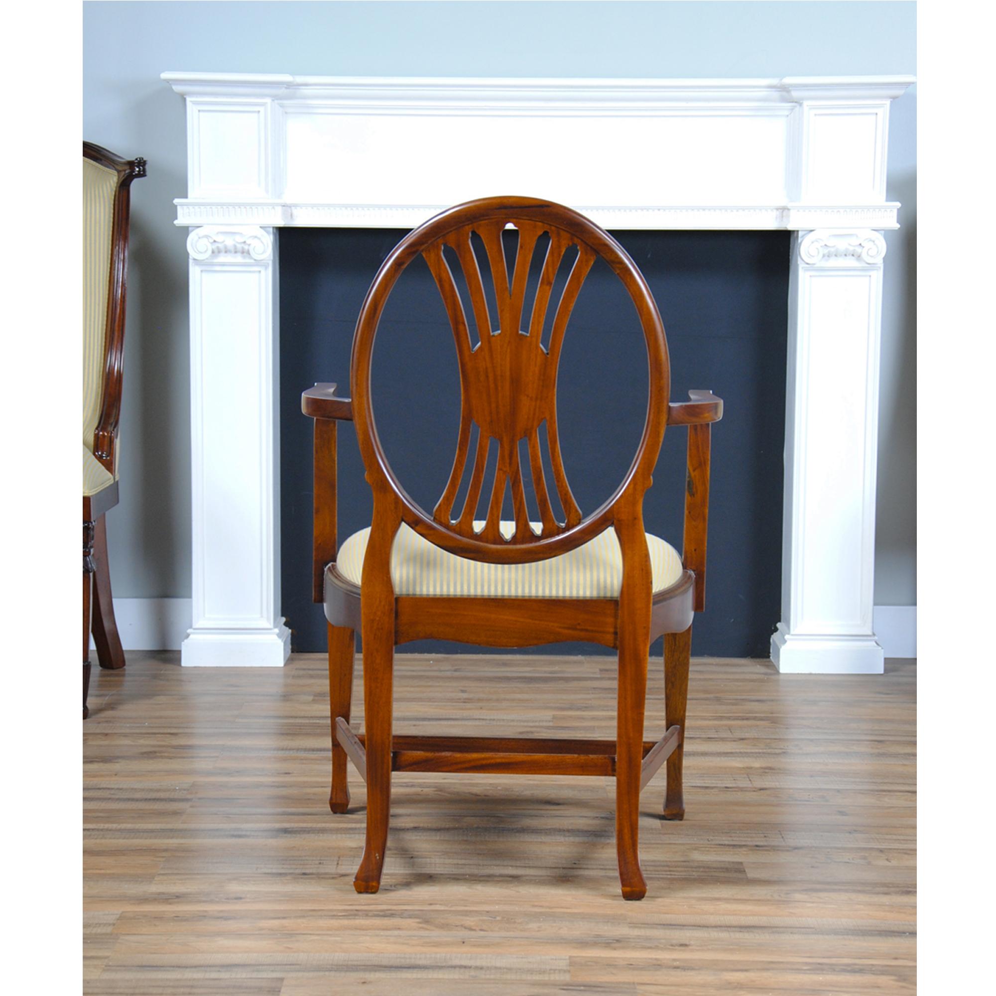 Round Back Inlaid Arm Chair , Niagara Furniture, Mahogany