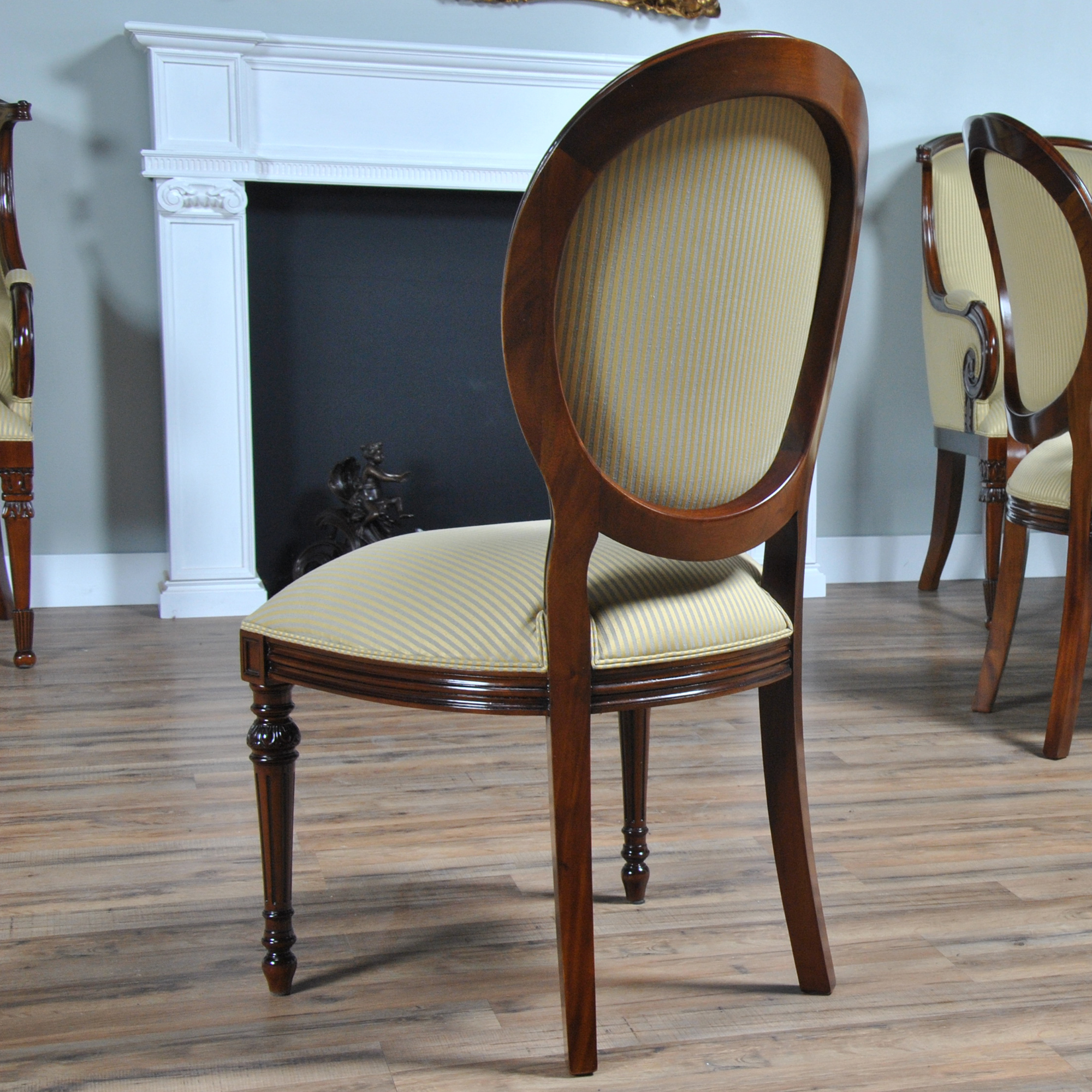 Home furniture dining room chairs round back for Mahogany dining room chairs