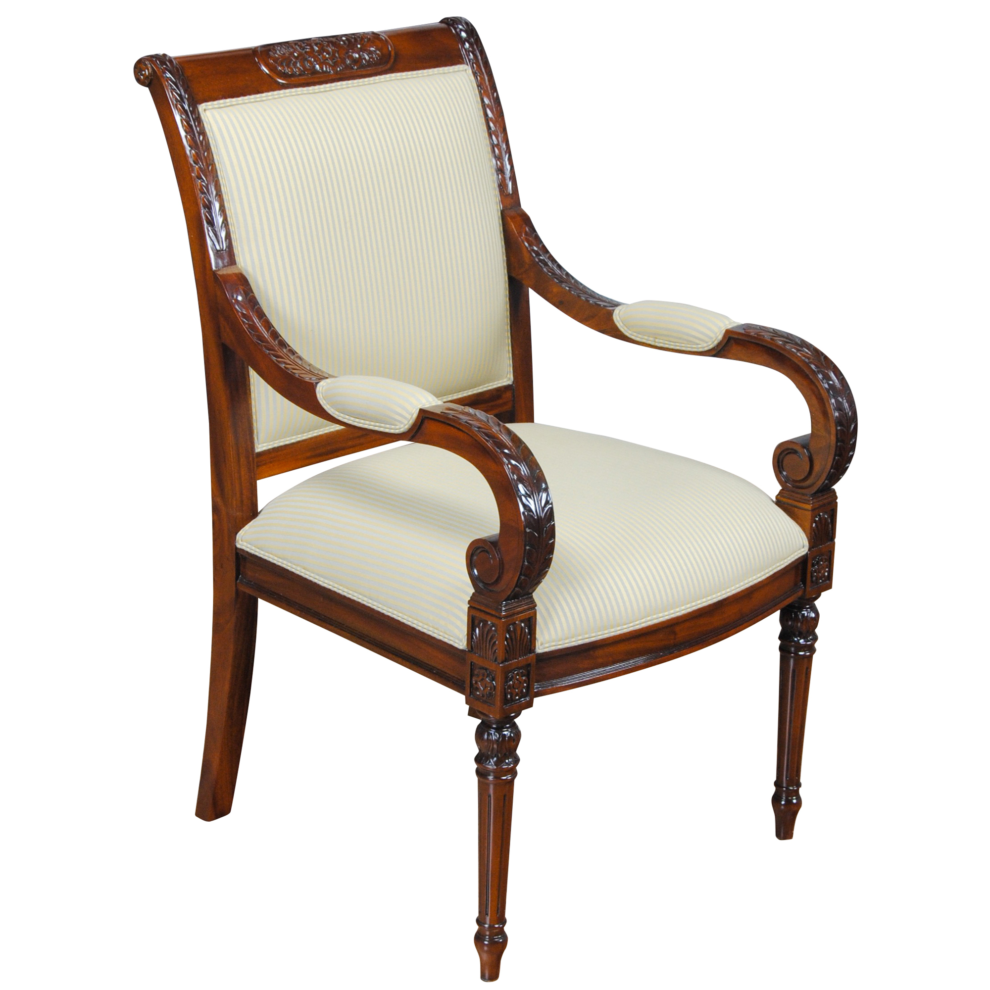 Carved Empire Upholstered Arm Chair, Niagara Furniture