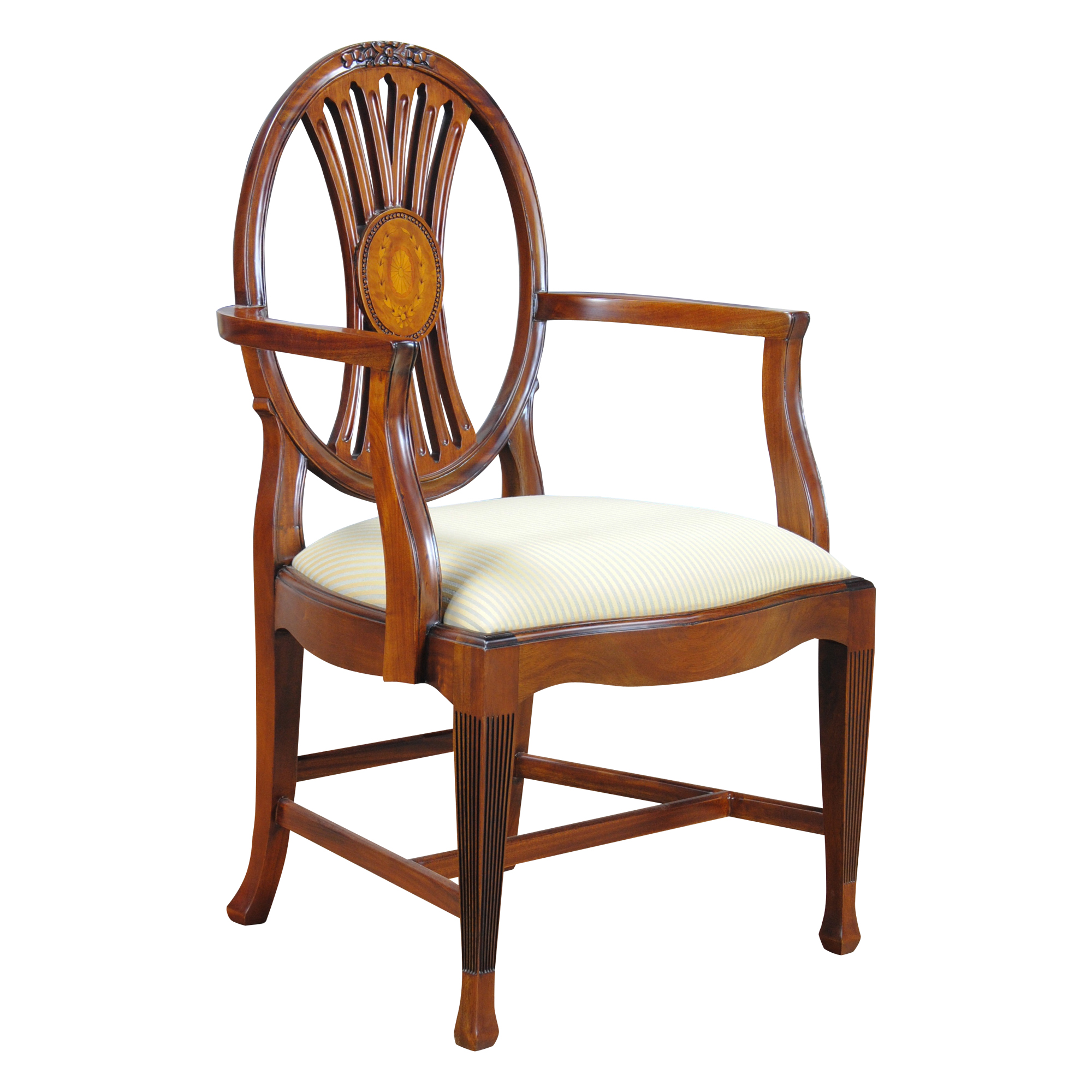 Round Back Inlaid Arm Chair , Niagara Furniture, Mahogany