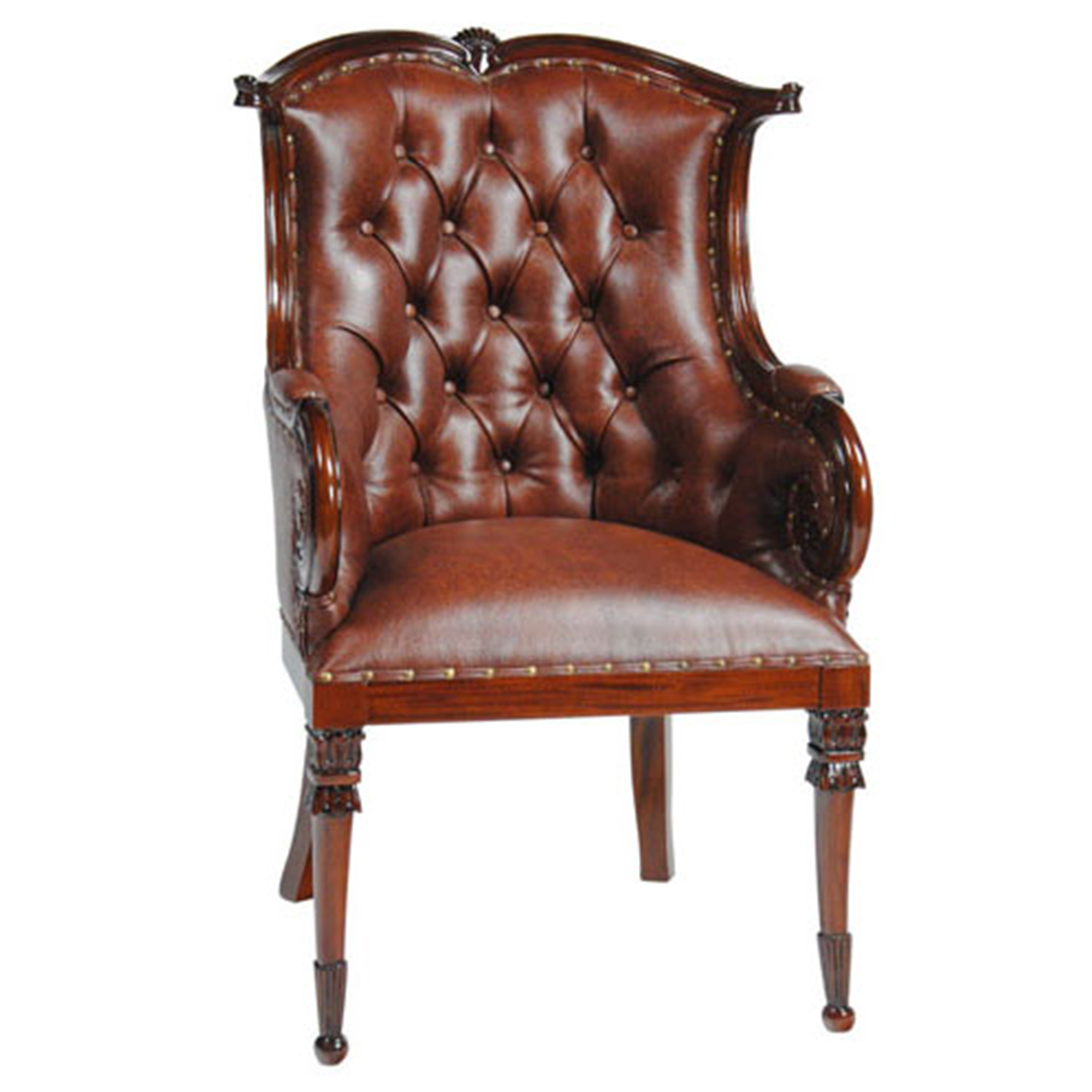 Home furniture dining room chairs leather arm for Leather dining room chairs with arms