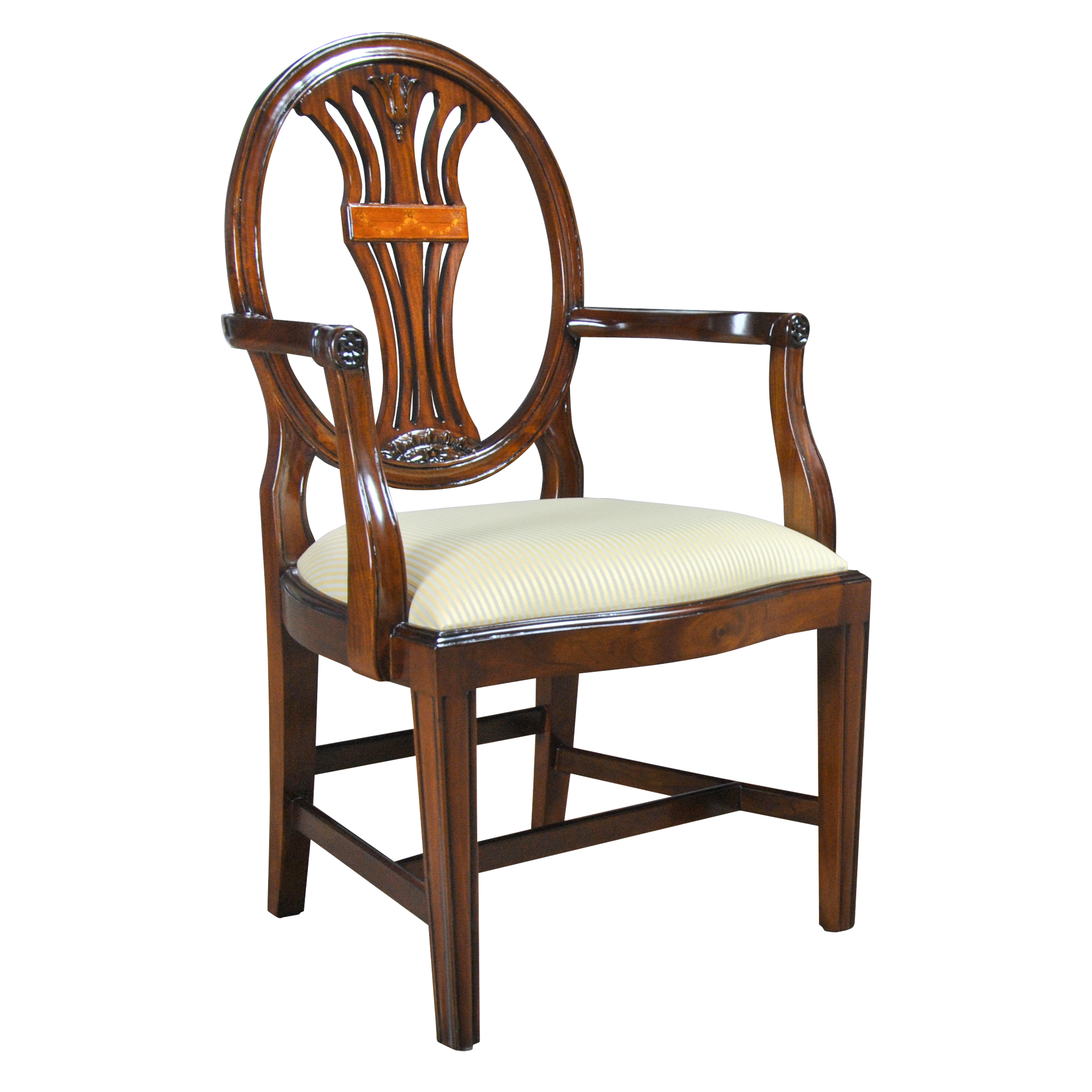 Oval back inlaid arm chair niagara furniture solid mahogany for Oval back dining room chairs