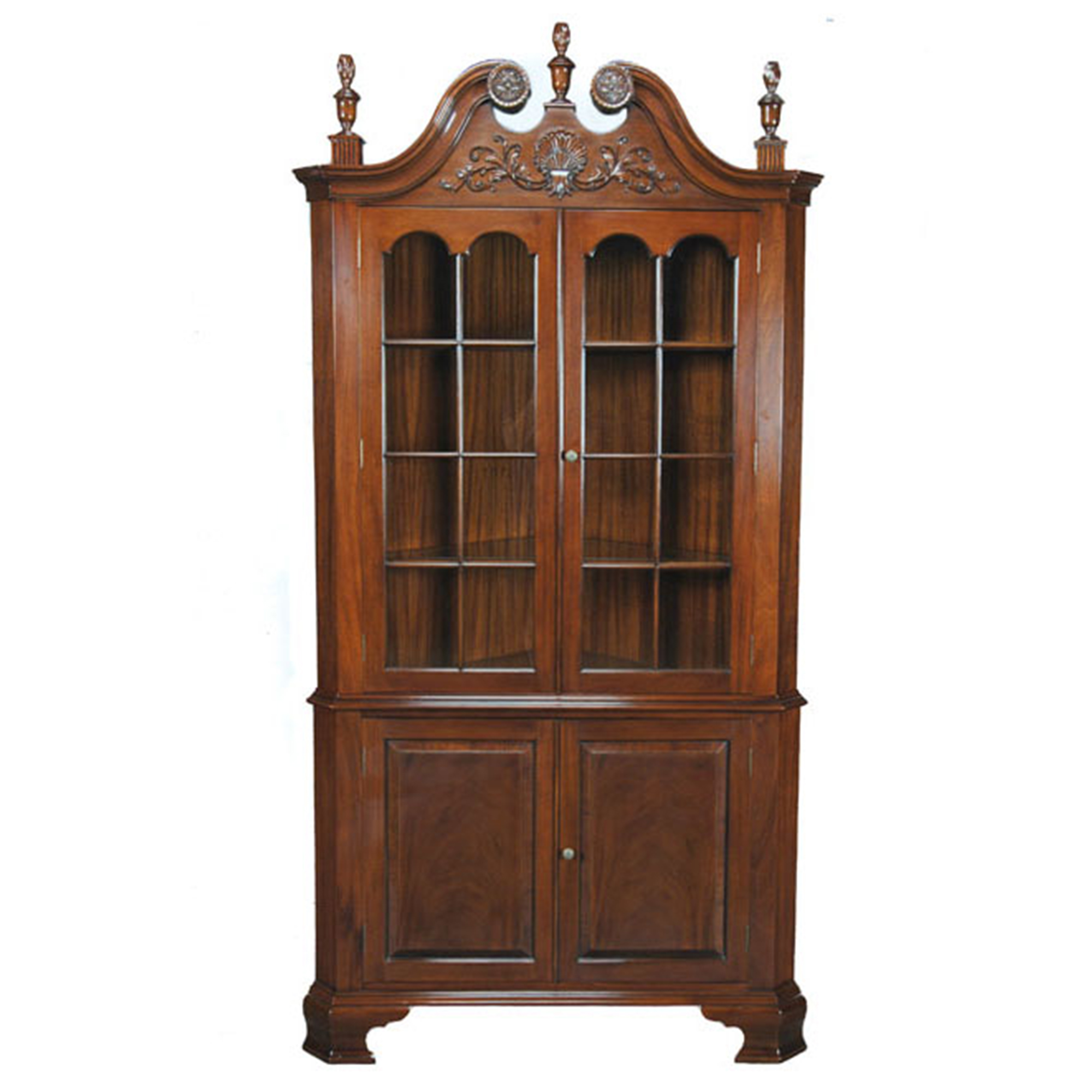 Carved corner cabinet niagara furniture mahogany dining room for Corner cabinet
