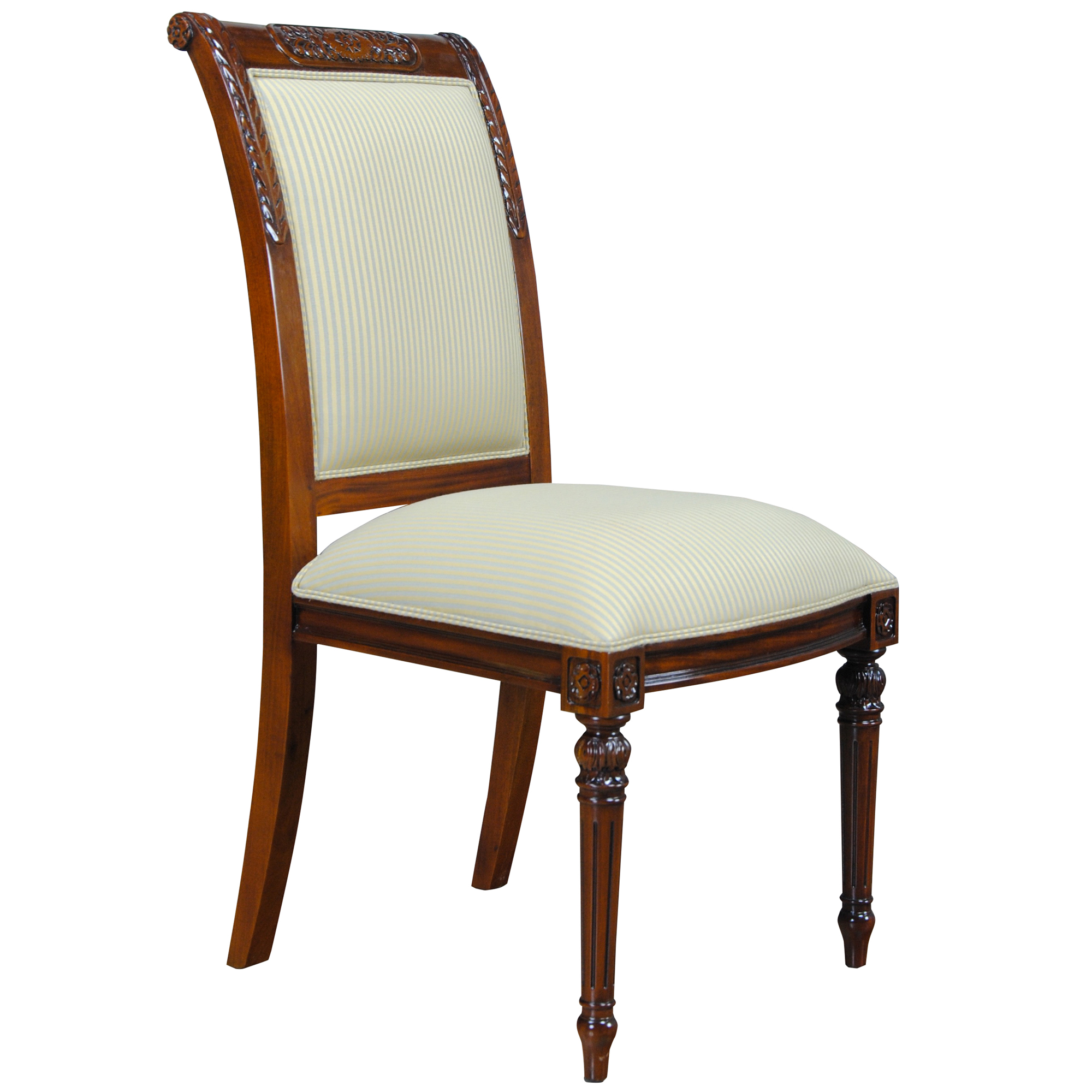 Carved empire upholstered side chair niagara furniture for Upholstered dining room side chairs