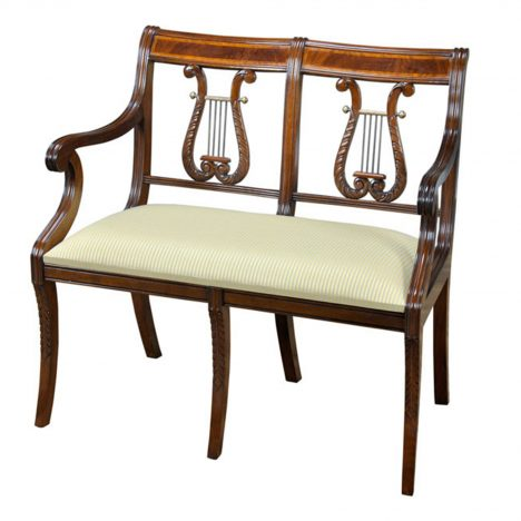 Banded Lyre Back Two Seat Chair :: NLR035SB