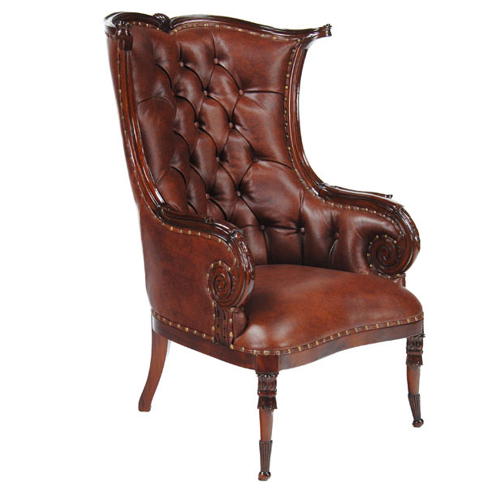 Attirant Leather Fireside Chair :: NLR055L