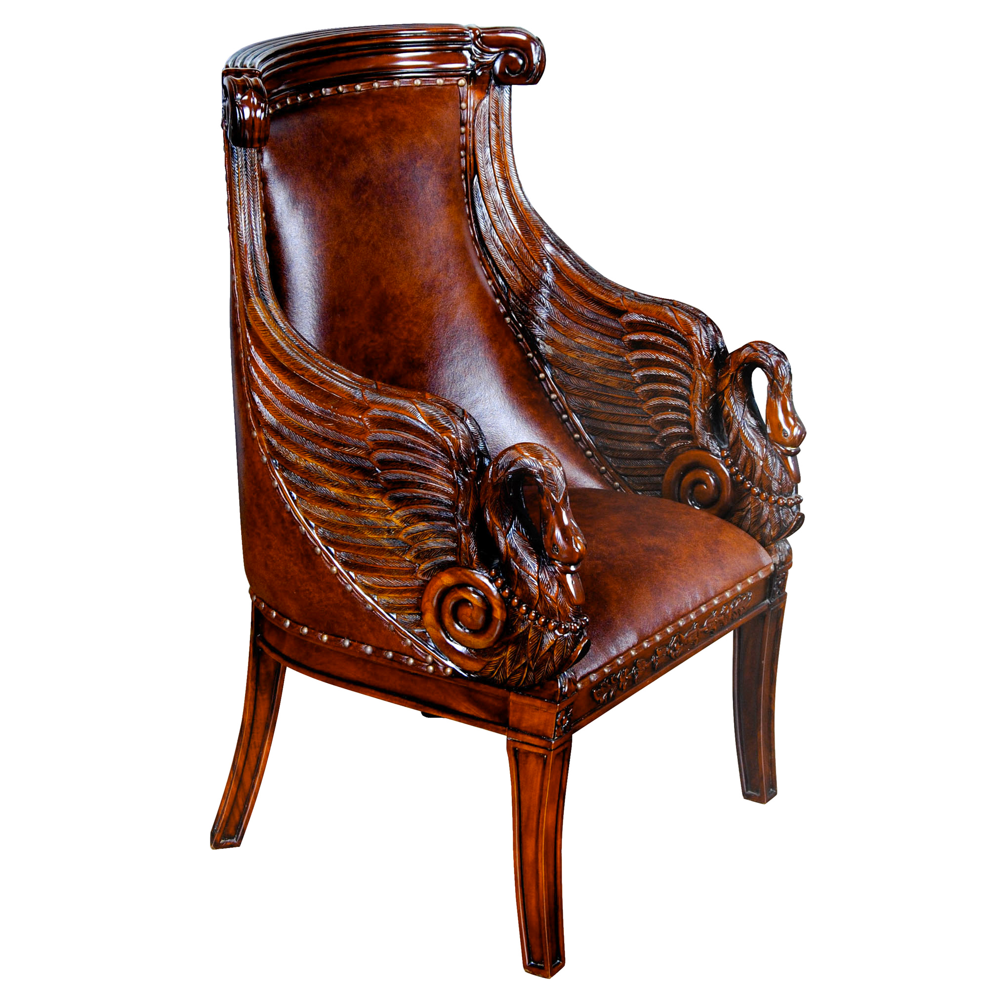 Leather Swan Arm Chair Nlr057l