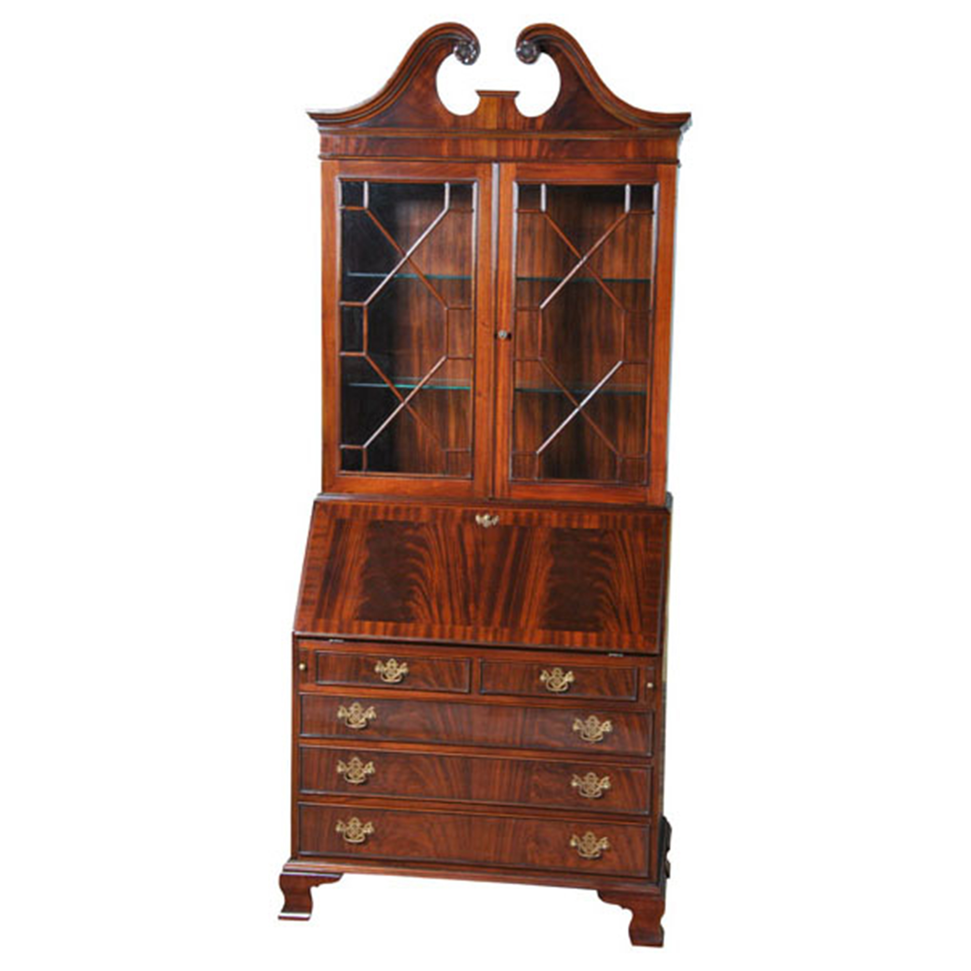 furniture antiques front secretary sd bureau with english drawers drop serpentine century late