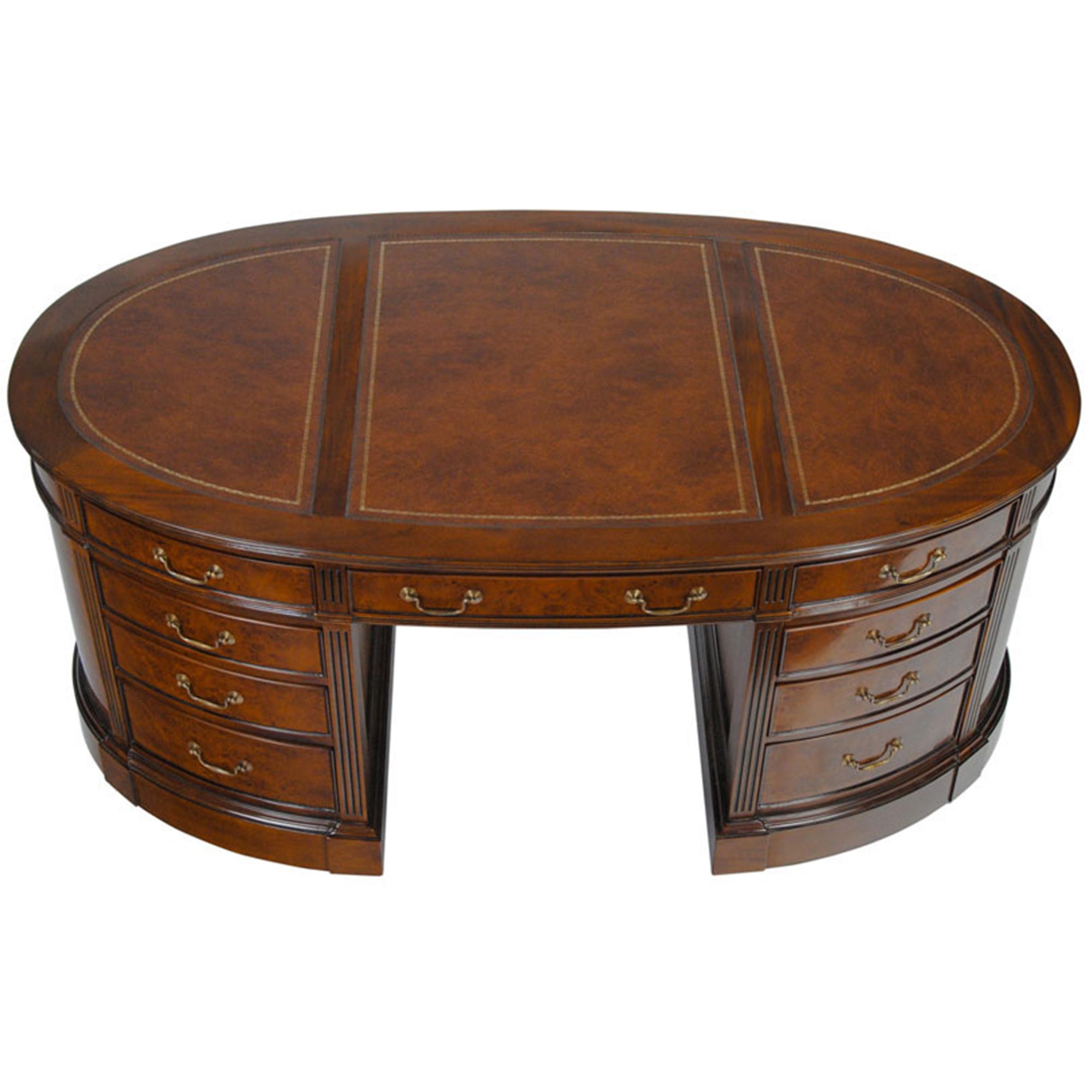 Burled Oval Partners Desk Niagara Furniture Leather Top Desk