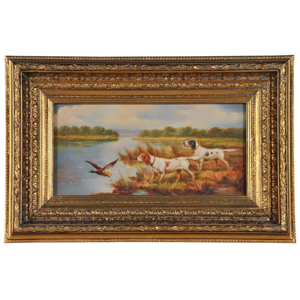 Hunting Dogs Oil Painting Painting With Frame Free Shipping