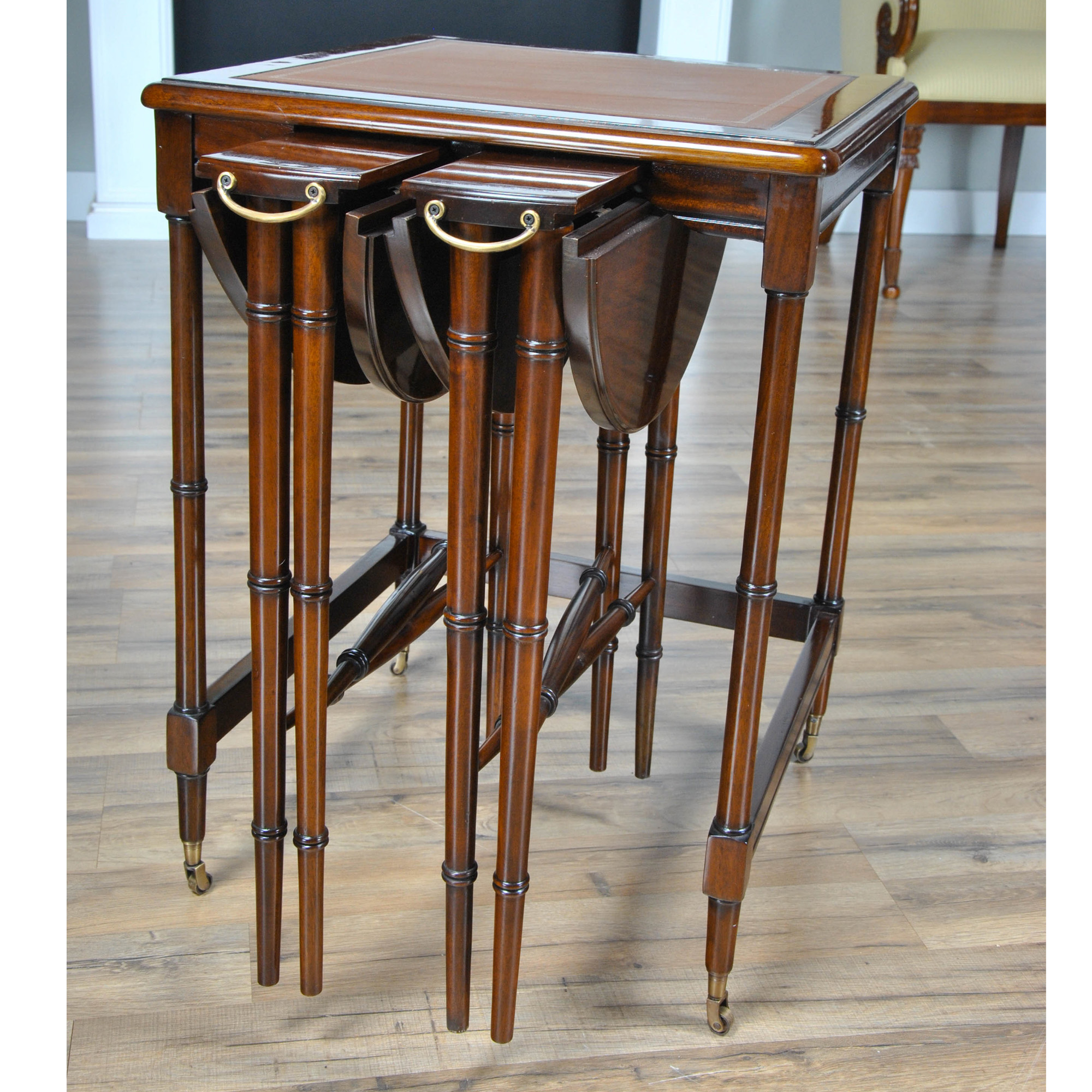 Leather Nesting Tables ~ Leather top nesting table tall set with
