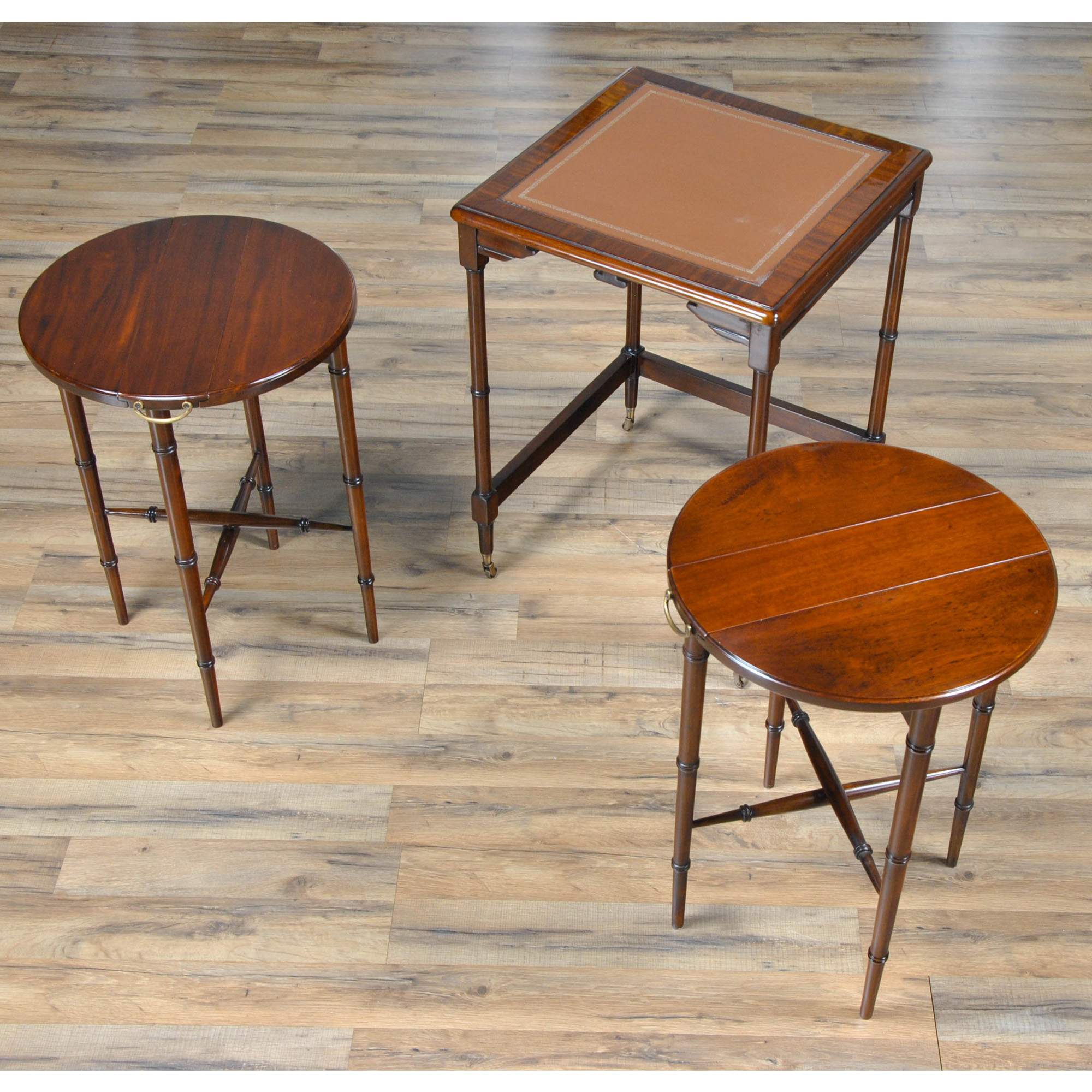 Leather Nesting Tables ~ Leather top nesting table nsi l