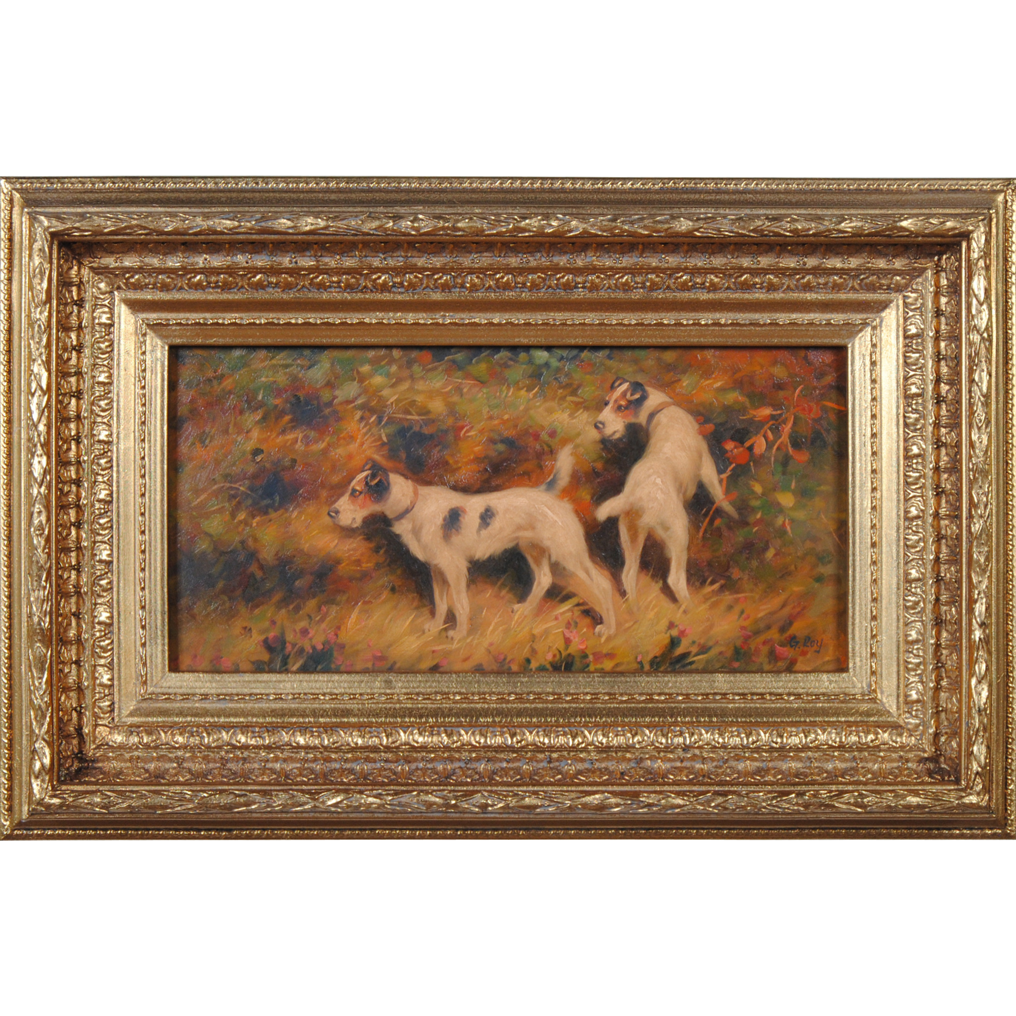 Terriers on Alert Oil Painting, painting with frame, free shipping ...