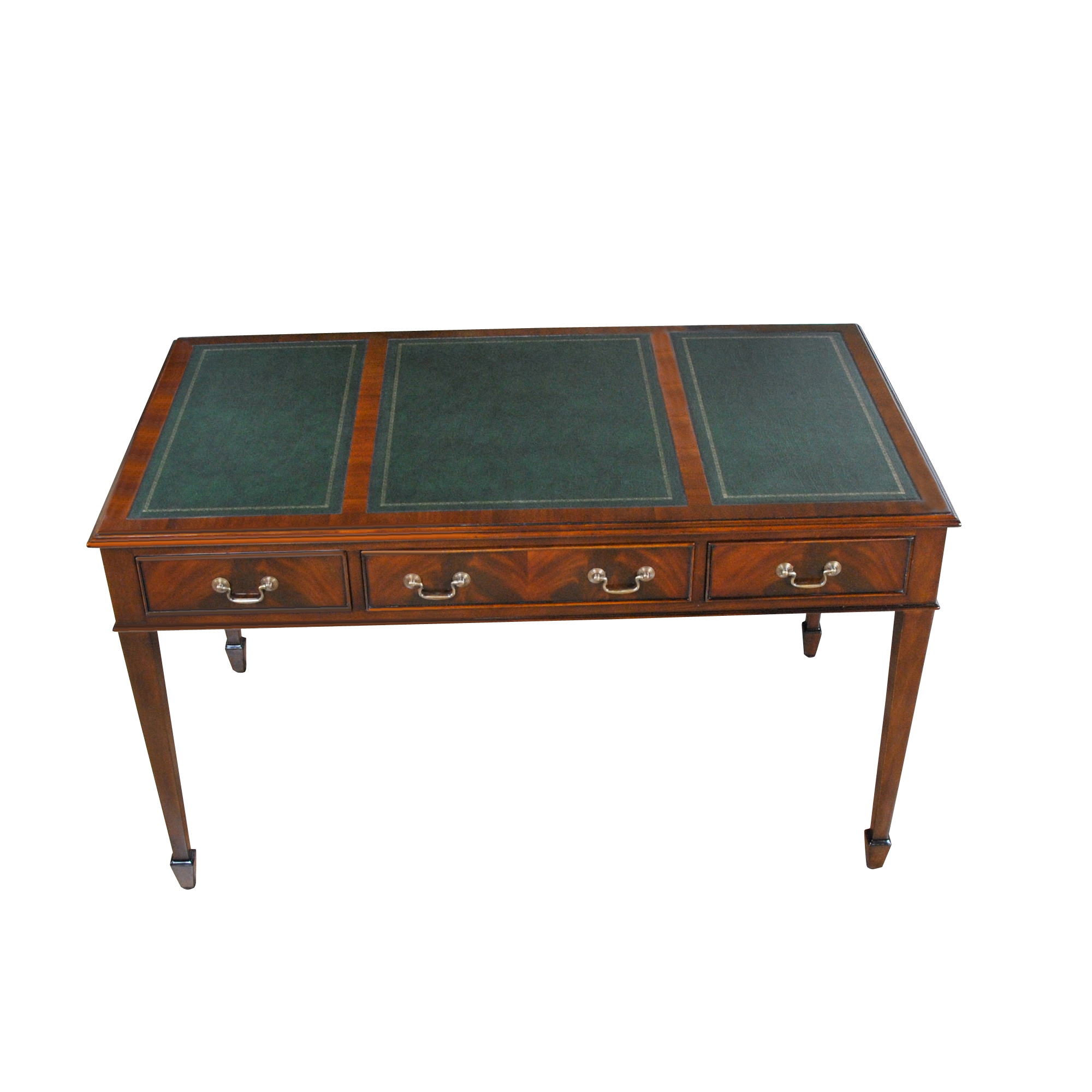 Mahogany Writing Table Green Leather Niagara Leather Top Desk